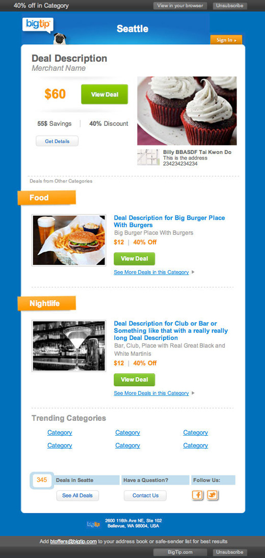 Newsletter email for BigTip.com coupon service
