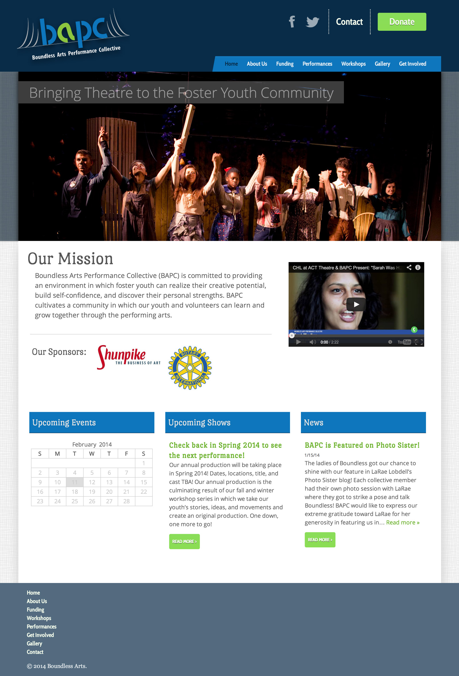Boundless Arts Performance Collective website, a project for the User Centered Design program at the University of Washington