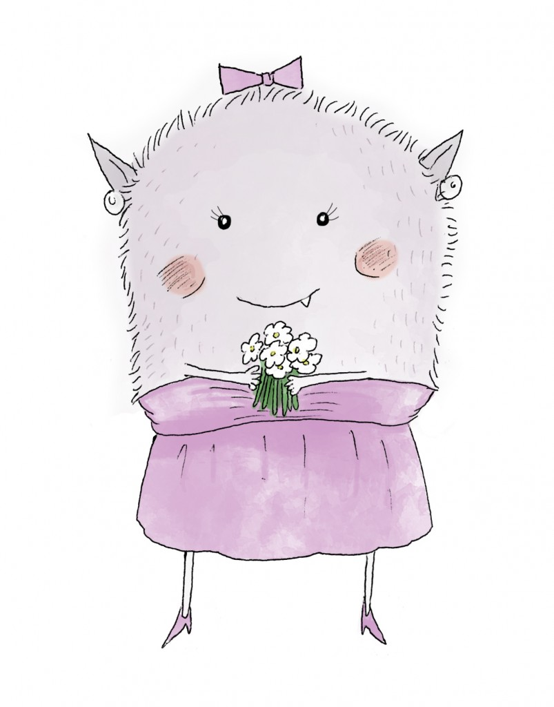 Monster created drawn for card to bridesmaids