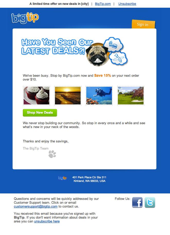 BigTip.com Email Design