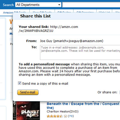 Amazon wish lists, share a list