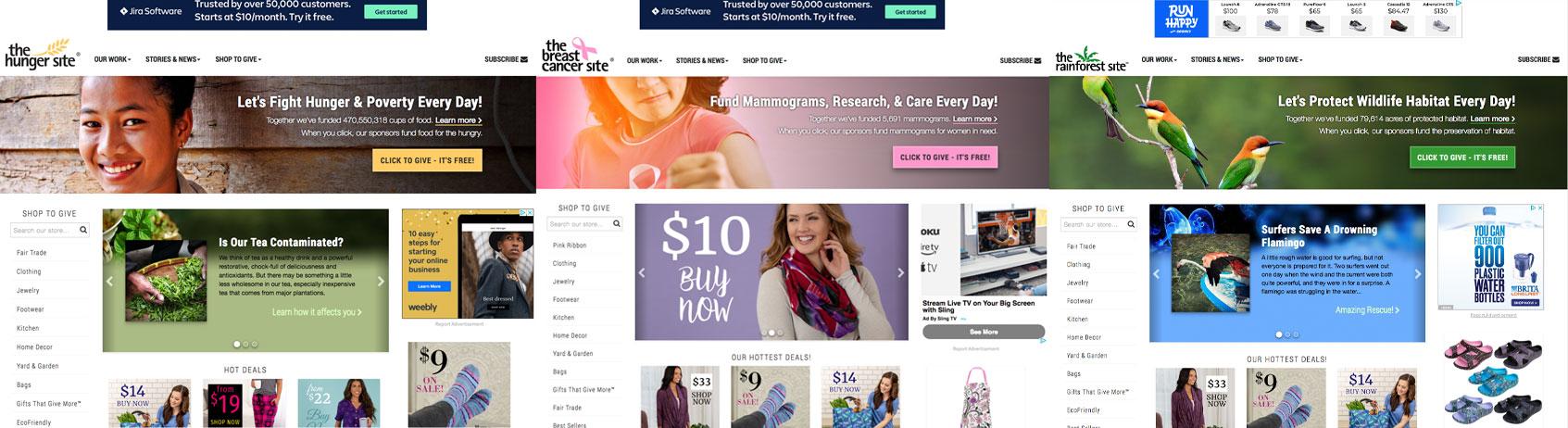 ClickToGive Website Framework on Desktop