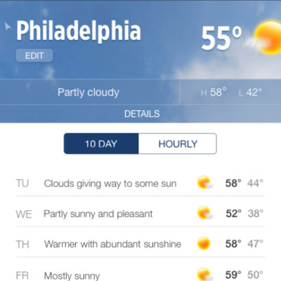 The weather section redesign for WLS Action News, out of Philadelphia, news app
