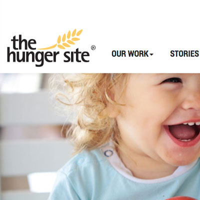 TheHungerSite.com home page, part of a 10 brand, customer-facing, CMS redesign